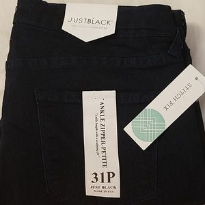 Just Black Ankle Zipper Jeans, 31/12P, NWT